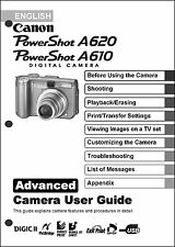 Canon Powershot A610  A620 Digital Camera User Guide Instruction  Manual