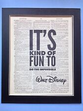 Walt Disney It's Kind Of Fun .. Impossible gift Idea Antique Dictionary Page Art