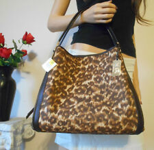 BNWT COACH BROWN LEOPARD SIGNATURE LEATHER CARRYALL HOBO SHOULDER HAND BAG TOTE