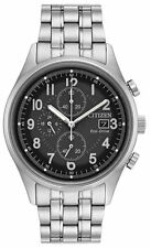 Mens Citizen Eco-Drive Stainless Black Dial Date Chronograph Watch CA0620-59H
