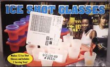 Ice Cube Shot Glass Maker Plastic with Serving Tray Makes 12 Freeze Spirits