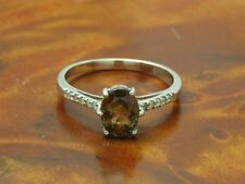 9kt 375 WEIßGOLD RING MIT BRILLIANT & TOPAS BESATZ / DIAMANTRING BRILLANTRING
