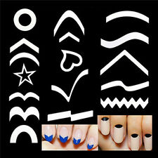 French Manicure Nail Art Tips Form Guides Sticker DIY Stencil 15 Designs Decor S