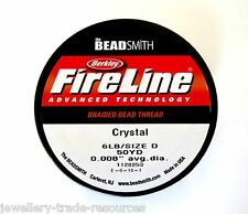 "FIRELINE Braided Beading Thread Cord Clear 0.008"" x 50 yards 6LB / Size D"