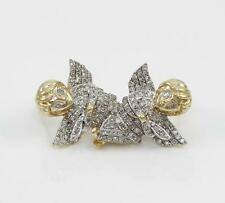 10K Yellow Gold Pave Natural 0.50ct Diamond Cherub Angel Earrings QZ