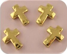 2 Hole Beads Crosses Gold Plated Metal with Hammered Texture ~ Sliders QTY 4