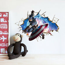 3D crack The Avengers Captain America kids room decor Wall sticker wall decals