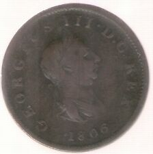Great Britain Uk Coin 1/2 Penny 1806 F/Vf