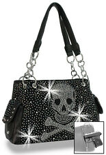 Concealed Carry Rhinestone Skull Design Fashion Bling Handbag Purse Bag Black