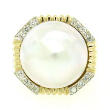14k Solid Yellow Gold Large 16.4mm Mabe Pearl & 12 Round Brilliant Diamond Ring