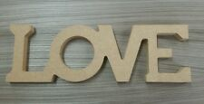 FREESTANDING LOVE LETTERS MDF WOODEN SIGN 100MM HIGH UNPAINTED CRAFT