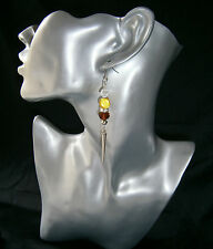 Stunning Autumn Mustard Amber Miracle Rondell Long Spike Dangle Pierced Earrings