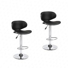Set of 2 Adjustable Bar Stools Leather Hydraulic Swivel Dining Chair in Black