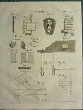 1797 GEORGIAN PRINT ~ PNEUMATICS AIR LUNGS VARIOUS DIAGRAMS USES