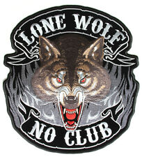 Lone Wolf no club Patch Patch aufbügler grande Biker back Patch motocicleta Harley