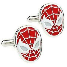 SPIDERMAN CUFFLINKS Red Super Hero Comic NEW w GIFT BAG Groom Wedding Accessory