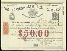 1869 Stock ~ Leavenworth Coal Co ~ Kansas / With Revenue