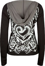METAL MULISHA Black Grey Long Sleeve Hoodie Top Vocal Rose Tattoo Henley Sweater