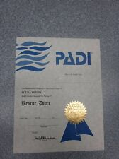 Personalized PADI Vintage Rescue Scuba Diver Certificate (Great Gift!)