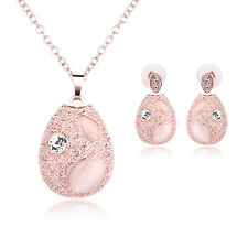 Wedding Party Jewelry Set Oval Cat's Eye Crystal Rose Gold Necklace Earring C