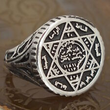 925 Sterling Silver Mens Ring Solomon Ring Talisman Ring Seal of Solomon