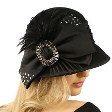 Winter Wool Baguette Bling Ribbon Feathers Cloche Bucket Hat Adjustable Black