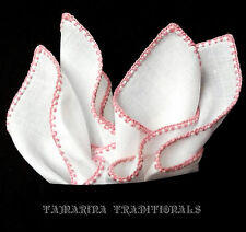 Quality Irish Linen Mens Pocket Square HAND ROLLED Pink Embroidery Solid White