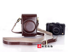 Coffee Leather Camera Case Bag For Panasonic Lumix DMC-LX7 LX5 Leica D-LUX6 LUX5