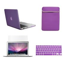 "4 in1 Rubberized PURPLE Case for Macbook PRO 15"" + Key Cover + LCD Screen+ Bag"