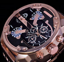 Animoo XXL Monster Watch Armband Herren Uhr Rose Gold Farbe Dual Timer 2 Werke B