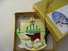 New Orleans Coffee & Beignets Ornament w GIFT BOX bow Christmas favor shower