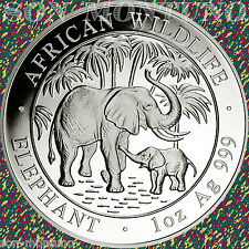 2007 SOMALIA African Wildlife ELEPHANT  1 Troy Oz .999 Silver BU Coin in Capsule