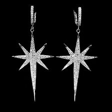 Sterling Silver 925 Diamond Cut Bright White Lab Created Diamond Star Earrings