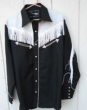 CLASSIC ROCKABILLY BLACK WITH WHITE PIPING MEN'S LONGSLEEVE WESTERN SHIRT SZ MED
