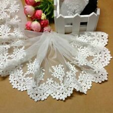 """Wholesale 5""""*1yard delicate white embroidered flower tulle lace trim"""