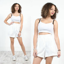 WOMENS VINTAGE WHITE HIGH WAIST 80'S TENNIS SHORTS BADMINTON WIMBLEDON 14