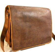 "New 15"" HANDMADE  Leather Vintage full flap Mens Laptop Computer, MESSENGER BAG"