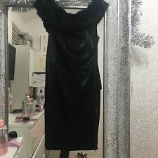 River Island Black Bardot Fur Dress Size 12