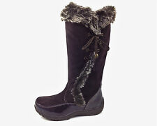 Sporto Waterproof Suede Tall Boot Side Winder Tassel Lace Up Chocolate 9 Med