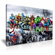 Marvel DC Comic Superheroes Lunch Skyscraper Canvas Wall Art 76x50cm / 30x20inch