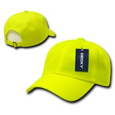 Neon Yellow Six Panel Polo Style Plain Blank Running Low Crown Baseball Cap Hat