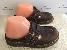 AUTH Doc Martens 3A23 Wom 5 Sturdy Brn Leather Mary Jane Slides Heels Mules Gel