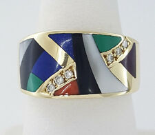 Asch Grossbardt 14k Yellow Gold Enamel Multi Stone & Round Diamond Fashion Ring