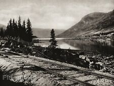 1924 Vintage SCANDINAVIA Photo Art Norway Halling Valley Railway Track Landscape
