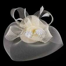 Ivory Wedding Races Party Fascinator Veil Net Hat Clip Cones Feathers Hatinator