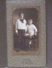 Vintage Hartsook Photograph Sepia Picture Two Boys with Tri-Fold Folder Frame