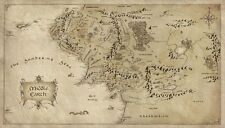 "Map of Middle Earth Lord Of The Ring Fabric Art Cloth Poster 43x24"" Decor 42"