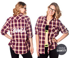 Zumba Crazy Happy Flannel Shirt-SOLD out Zumba.com Z3T00041 Burgundy Size XL
