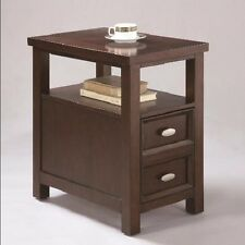 Crown Mark Dempsey Chair Side Table, Espresso Finish
