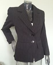 Vintage Yves Saint Laurent Sz 6 Pinstriped Lined Blazer Charcoal Gray Wool 1990s